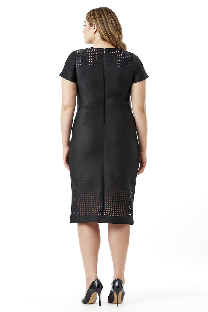 Rectangle Gradiant Body Con Laser Cut Neoprene Dress