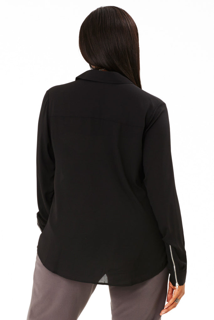 PLUS SIZE MOTO BLOUSE IN BLACK