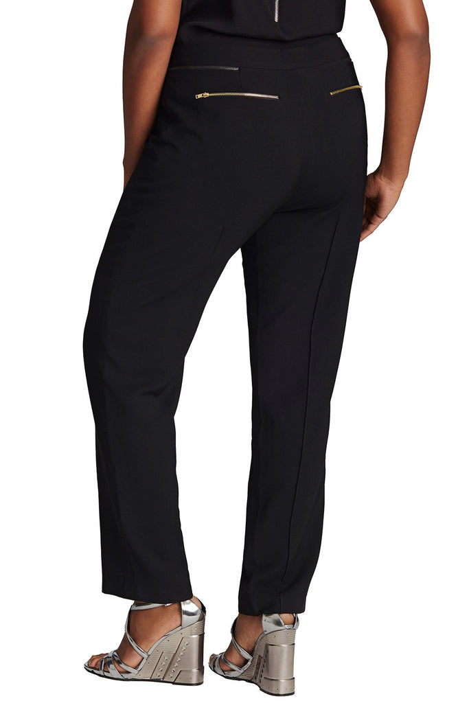 PLUS SIZE BLACK FRONT PLEAT TROUSER