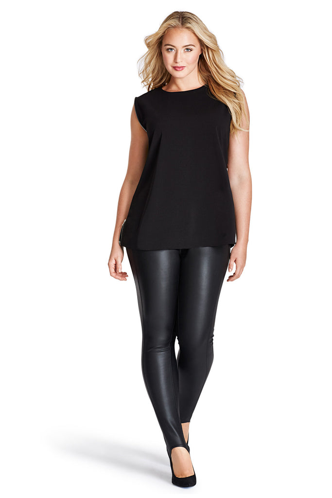 MYNT 1792 BLACK ZIPPER SIDE SEAM TOP