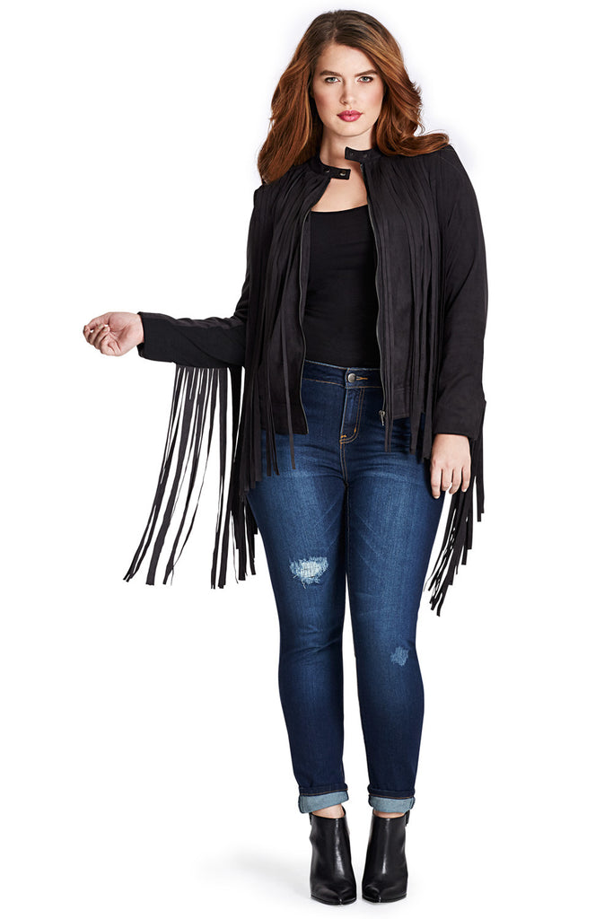 PLUS SIZE FRINGE JACKET IN BLACK