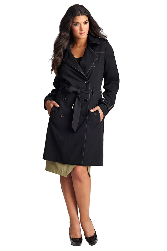 PLUS SIZE BLACK TRENCH COAT