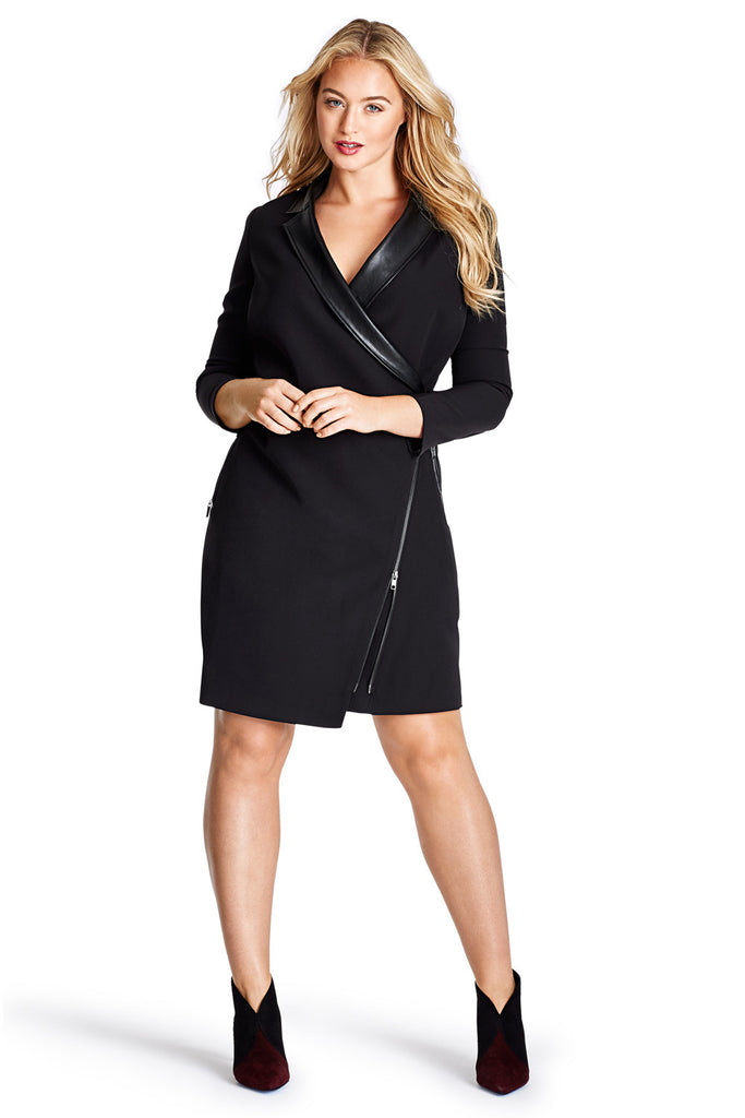 MYNT 1792 BLACK TUXEDO WRAP DRESS