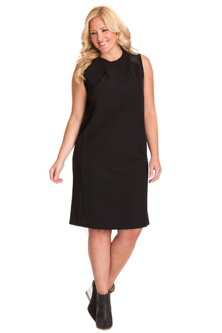 PLUS SIZE MESH NECKLINE SHIFT DRESS