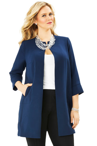 PLUS SIZE COCOON COAT IN BLUE