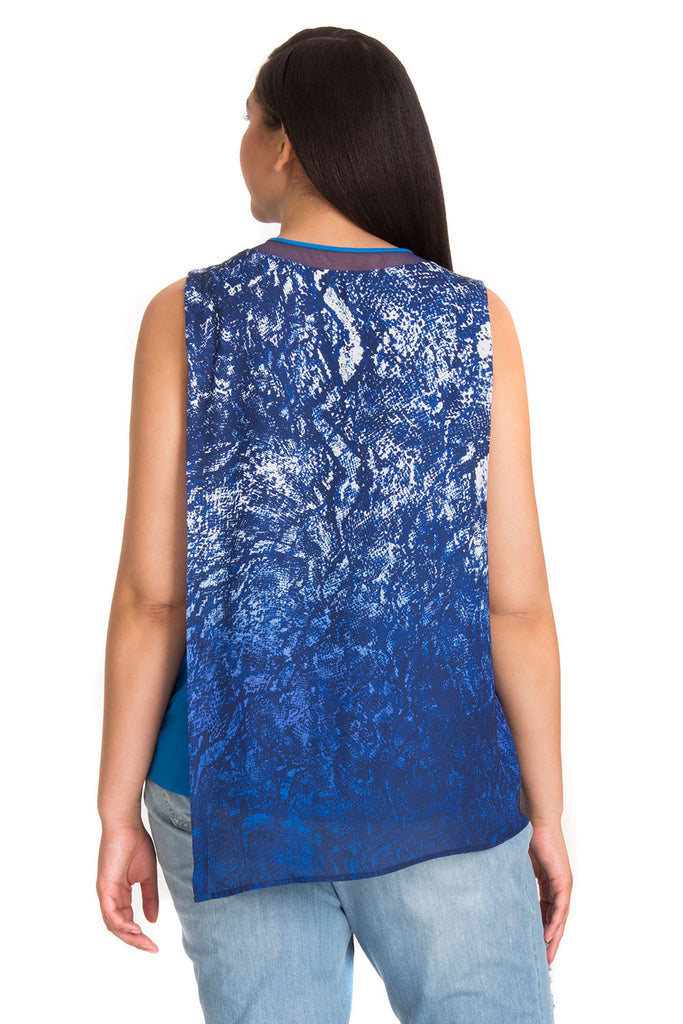 PLUS SIZE BLUE SNAKE OVERLAY TOP