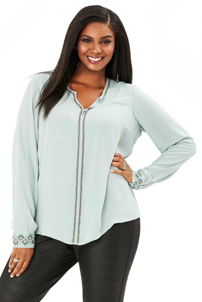 PLUS SIZE EMBELLISHED BLOUSE IN JADEITE