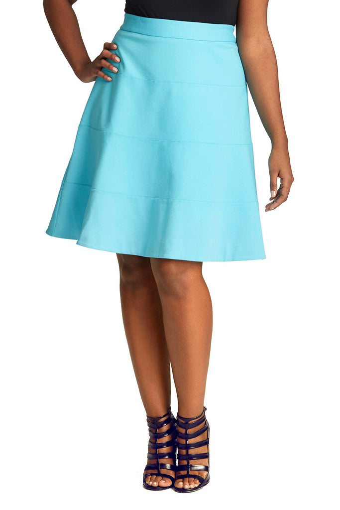 PLUS SIZE FLARED SKIRT IN BRIGHT BLUE