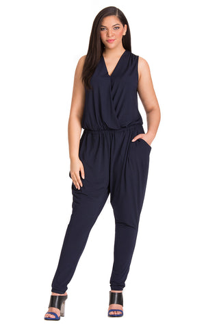 Plus Size Navy Sleeveless Jumpsuit