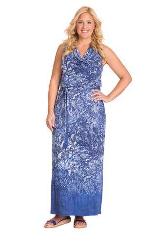PLUS SIZE-SNAKE PRINT MAXI DRESS