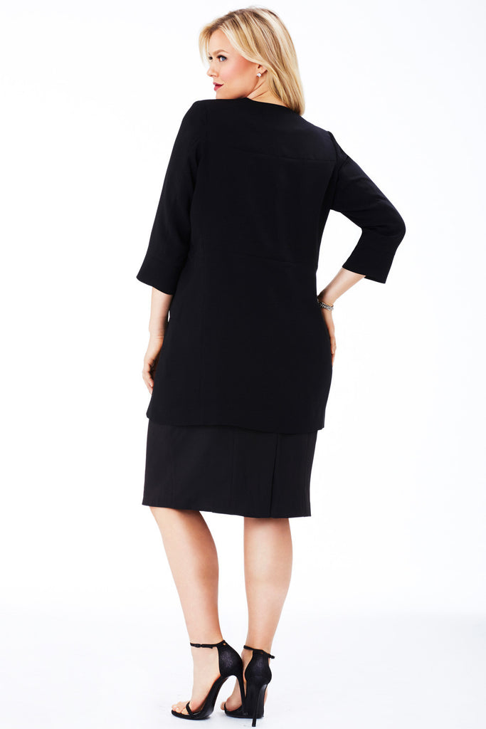 PLUS SIZE COCOON COAT IN BLACK