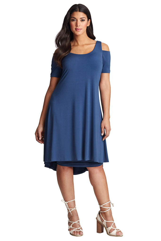 PLUS SIZE BLUE COLD SHOULDER DRESS
