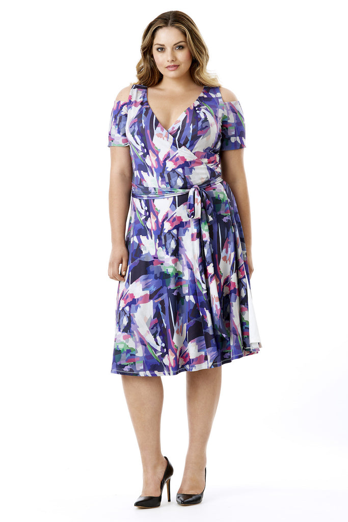 MYNT 1792 COLD SHOULDER WRAP DRESS IN FLORAL PRINT