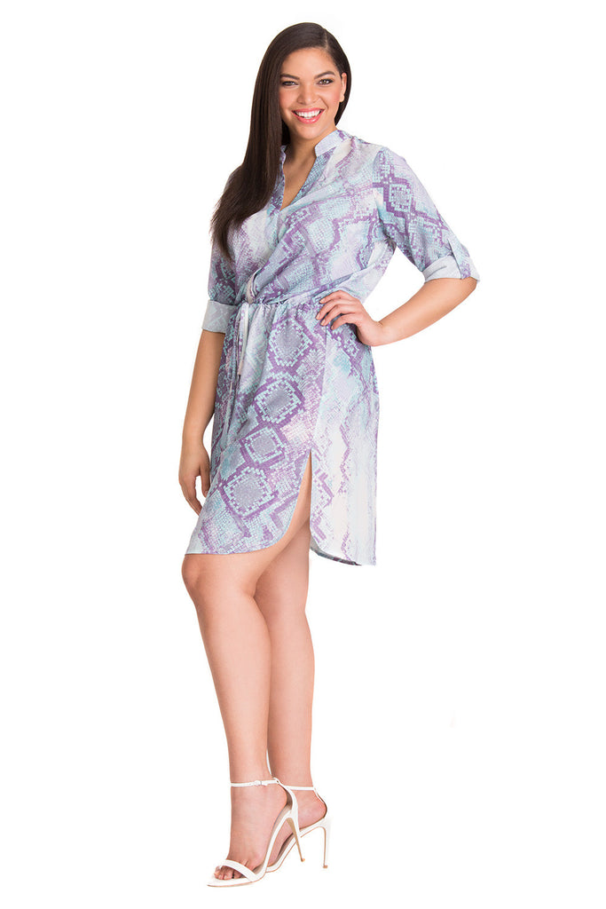 Curvy Shirt Dress in Cool Neon Snake Print
