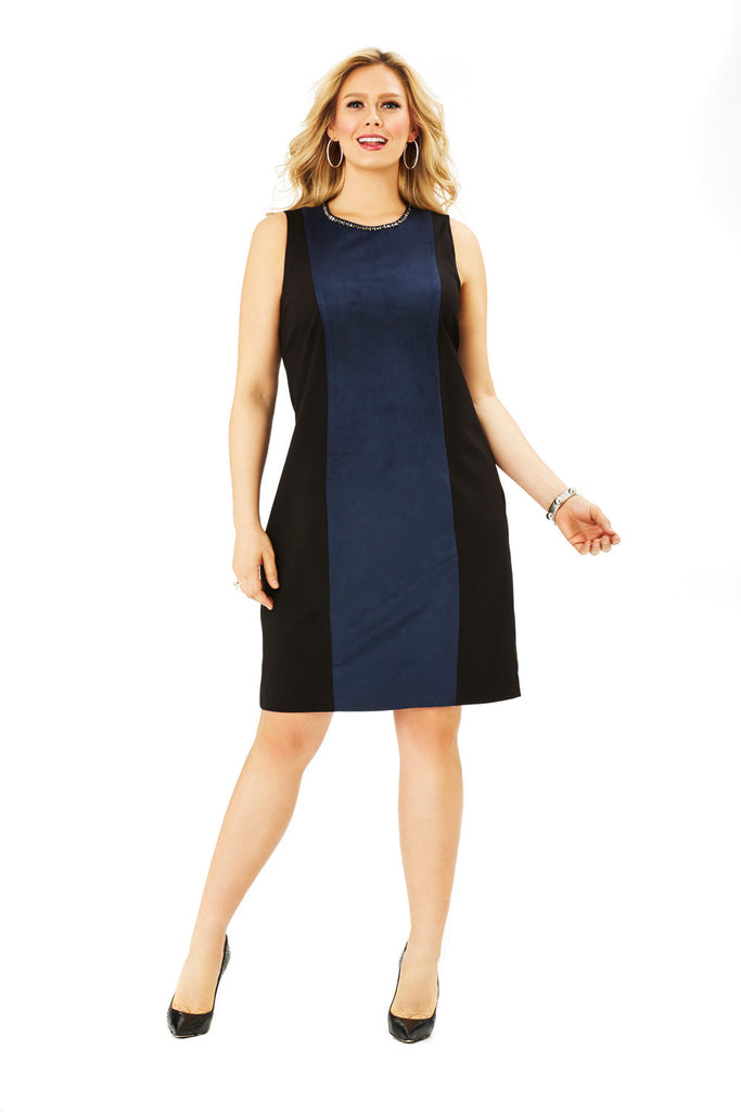 PLUS SIZE NAVY/BLACK SHEATH DRESS