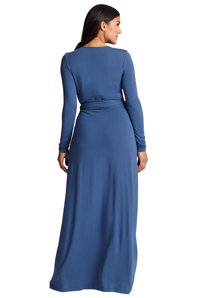 Curvy Maxi Wrap Dress in Blue