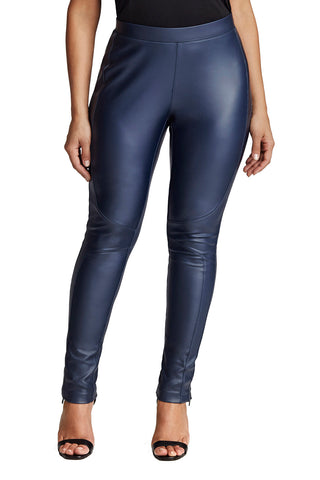 Plus Size Navy Coated Legging