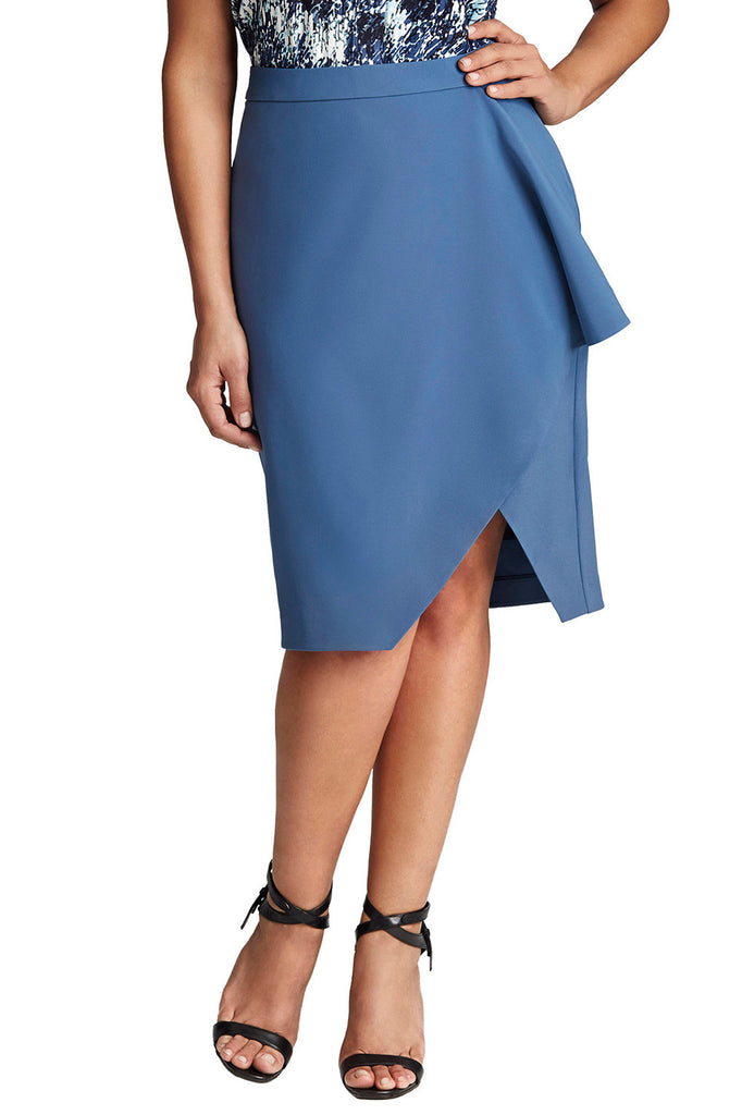 PLUS SIZE BLUE DRAPE SKIRT