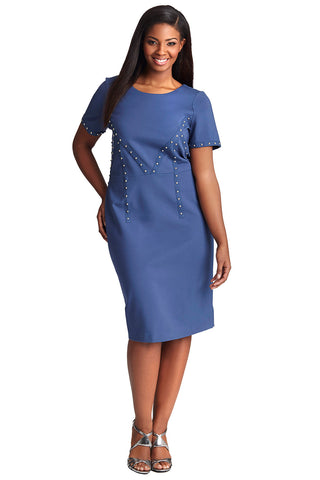 CURVE HUGGING PONTE DRESS IN BLUE