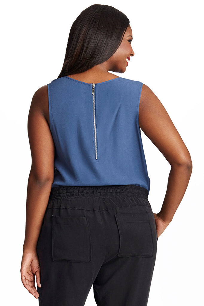 PLUS SIZE V-NECK STUDDED TOP IN BLUE