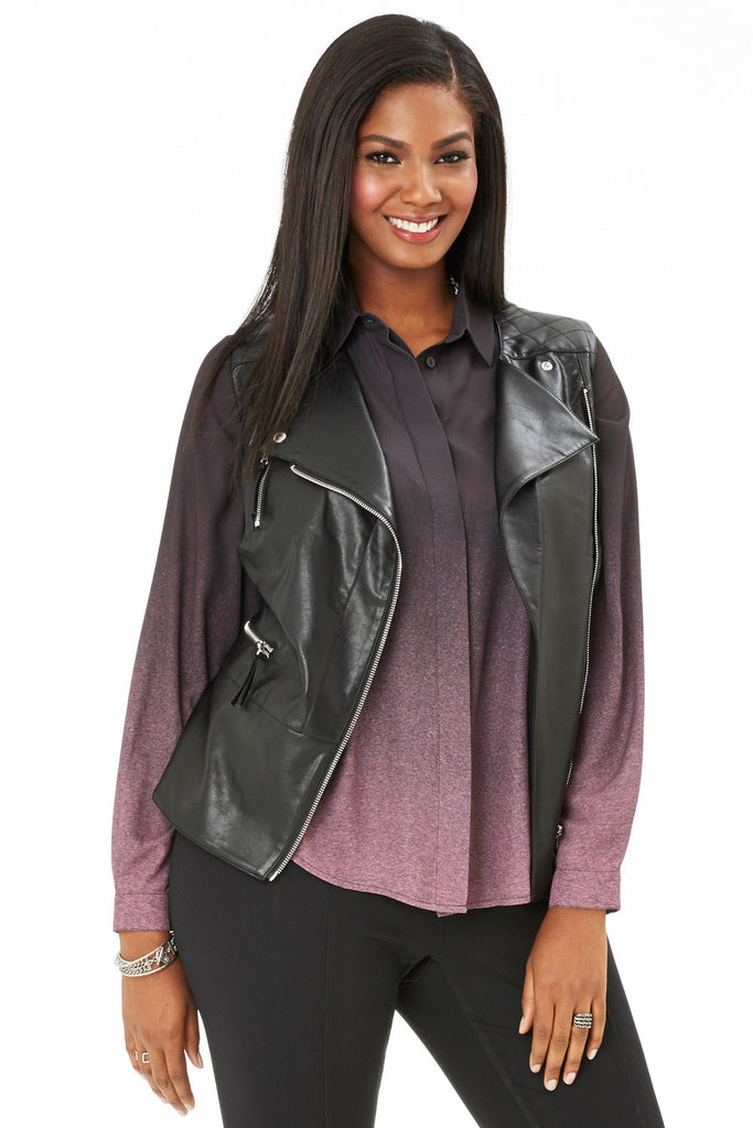 c852af54320 PLUS SIZE FAUX LEATHER MOTO VEST ...