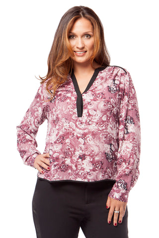 PLUS SIZE INVERTED SEAM BLOUSE IN FLORAL PRINT