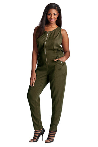 PLUS SIZE DARK GREEN MILITARY JUMPSUIT
