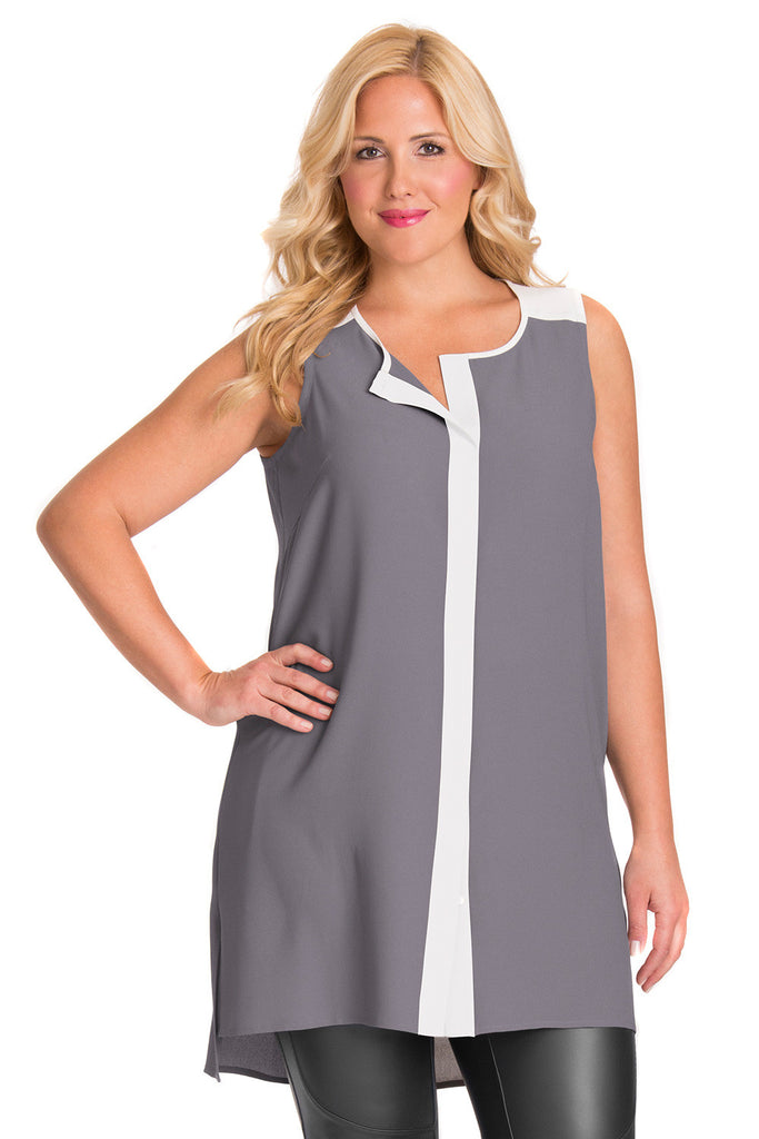 PLUS SIZE GRAY COLORBLOCK TUNIC