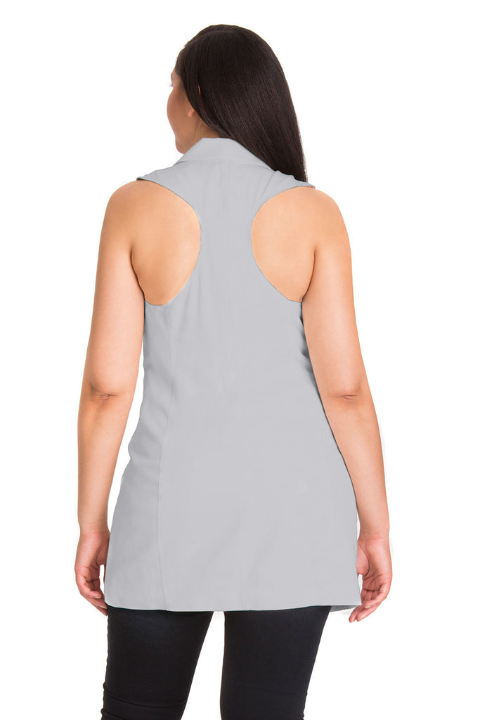 Curvy Collared Vest in Gray