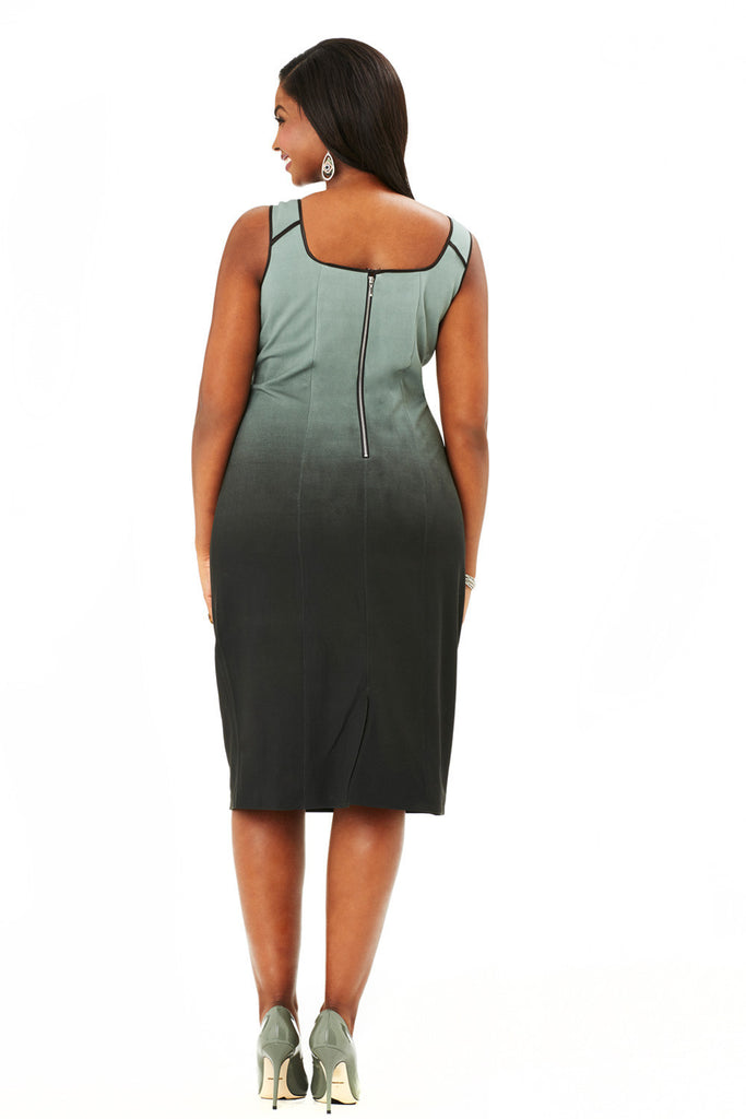 PLUS SIZE OMBRE PRINT DRESS IN GREEN