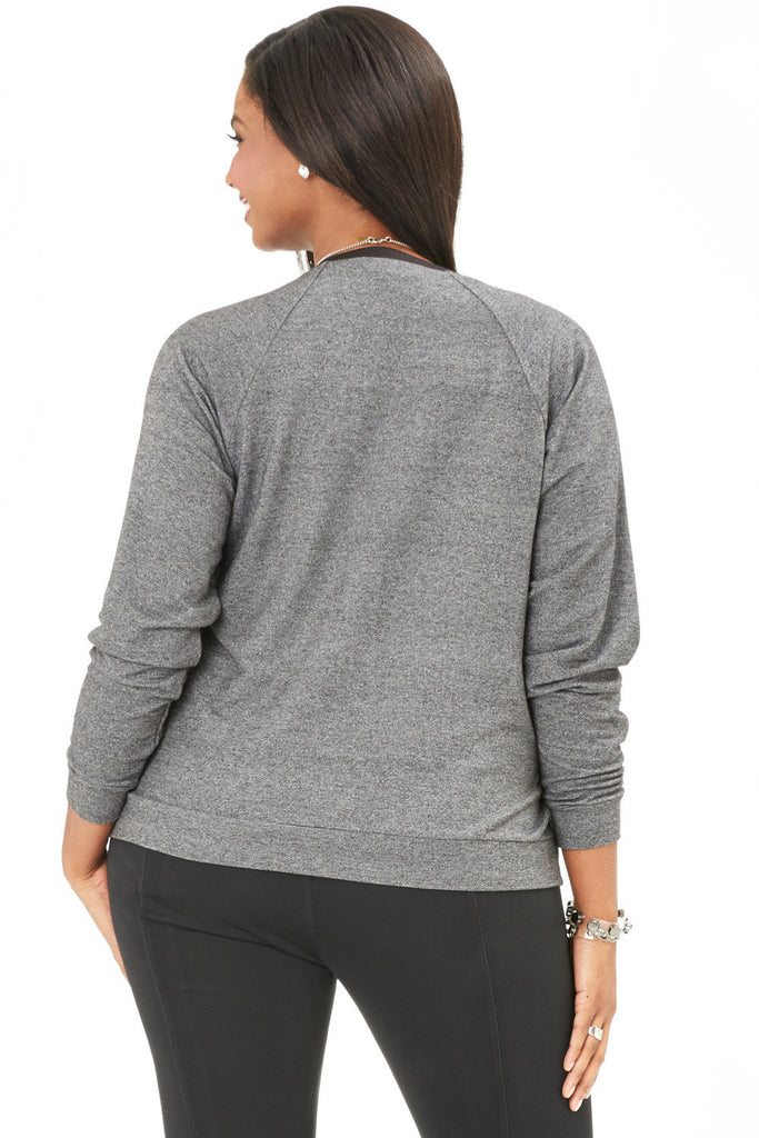 PLUS SIZE GREY RAGLAN SWEATSHIRT