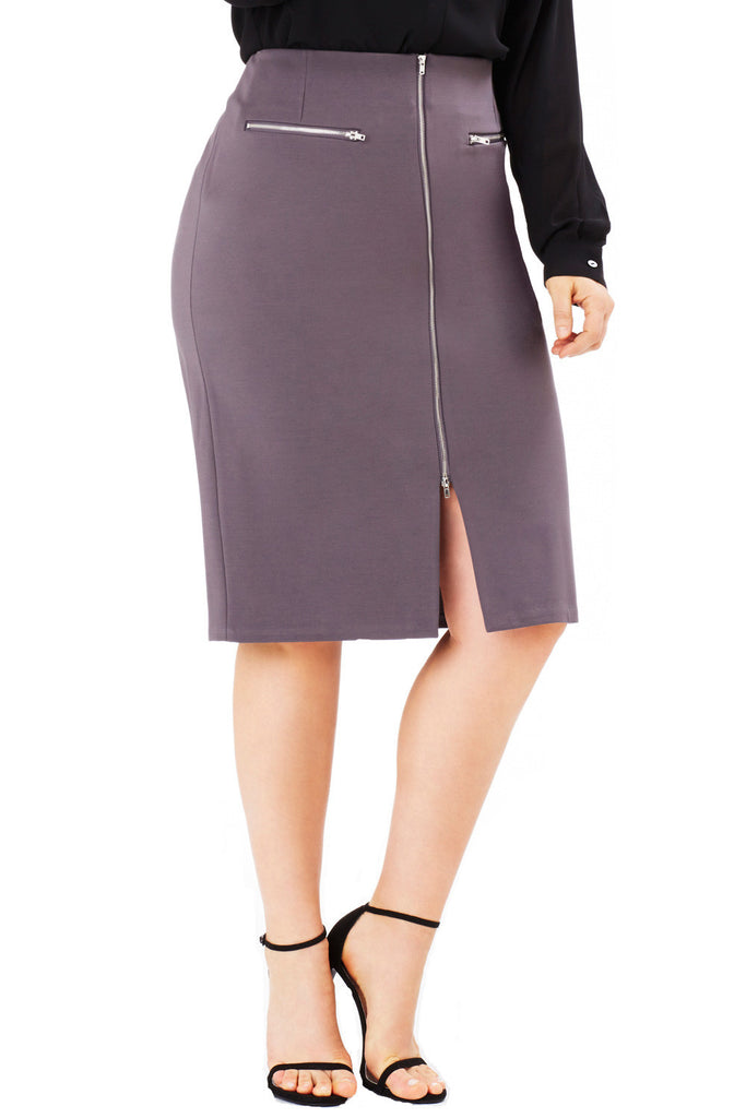 PLUS SIZE HIGH WAIST FRONT ZIP SKIRT GREY