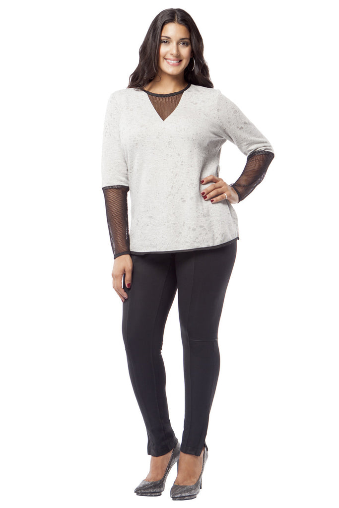 PLUS SIZE KNIT AND MESH TOP IN SLATE