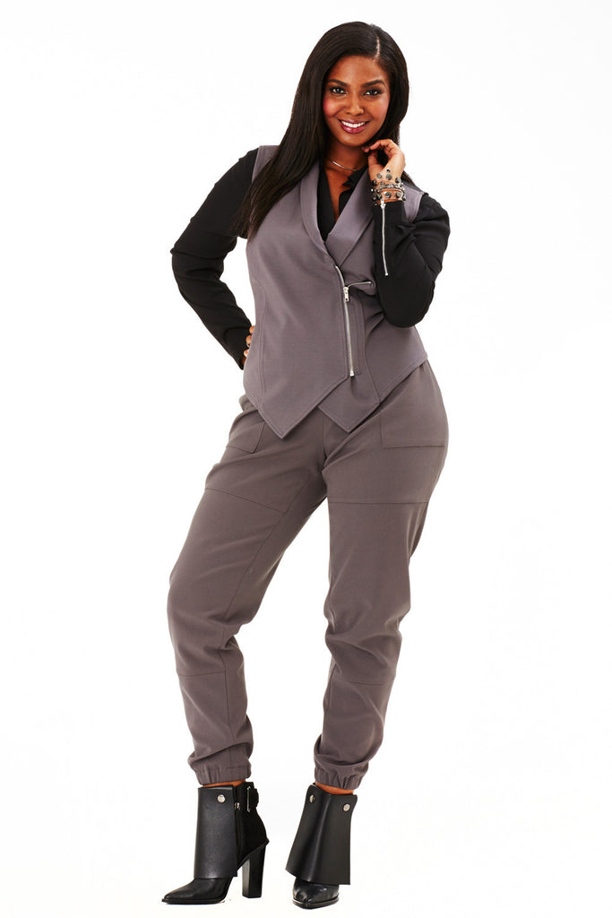 PLUS SIZE GREY SLOUCH PANT