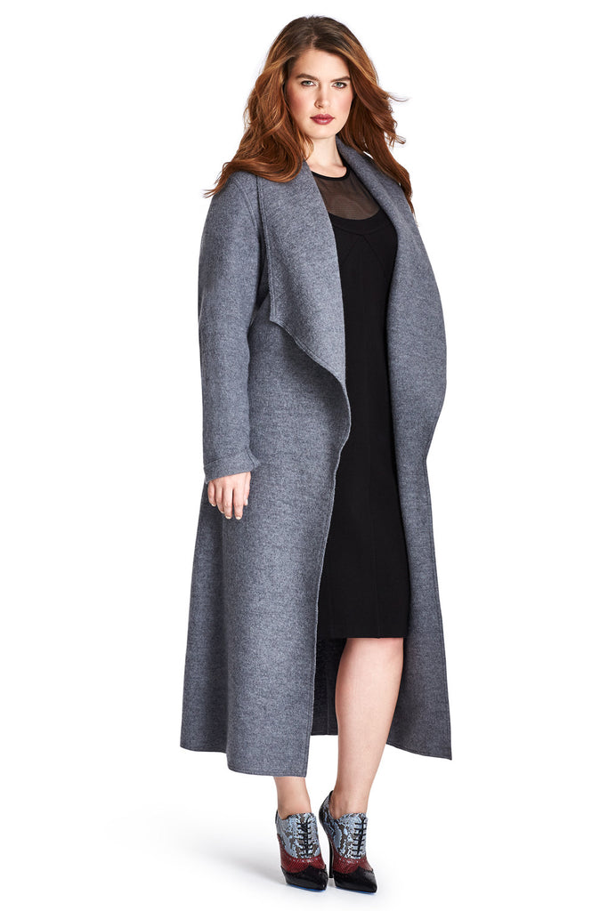 Grey Wool Maxi Wrap Coat
