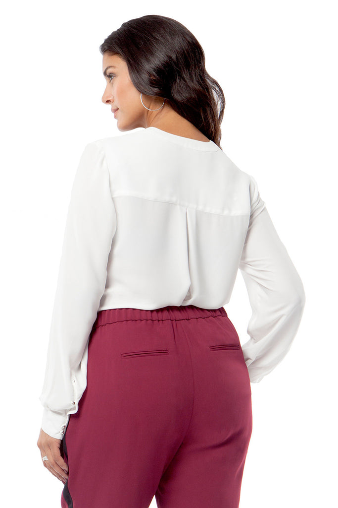 PLUS SIZE SLIMMING PLEATED BLOUSE IN IVORY