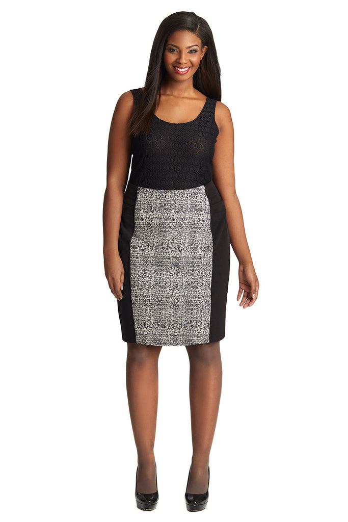 PLUS SIZE JACQUARD PENCIL SKIRT