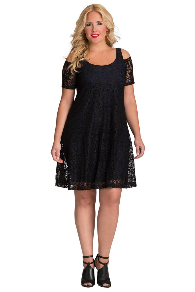 Plus Size Cold Shoulder Lace Dress