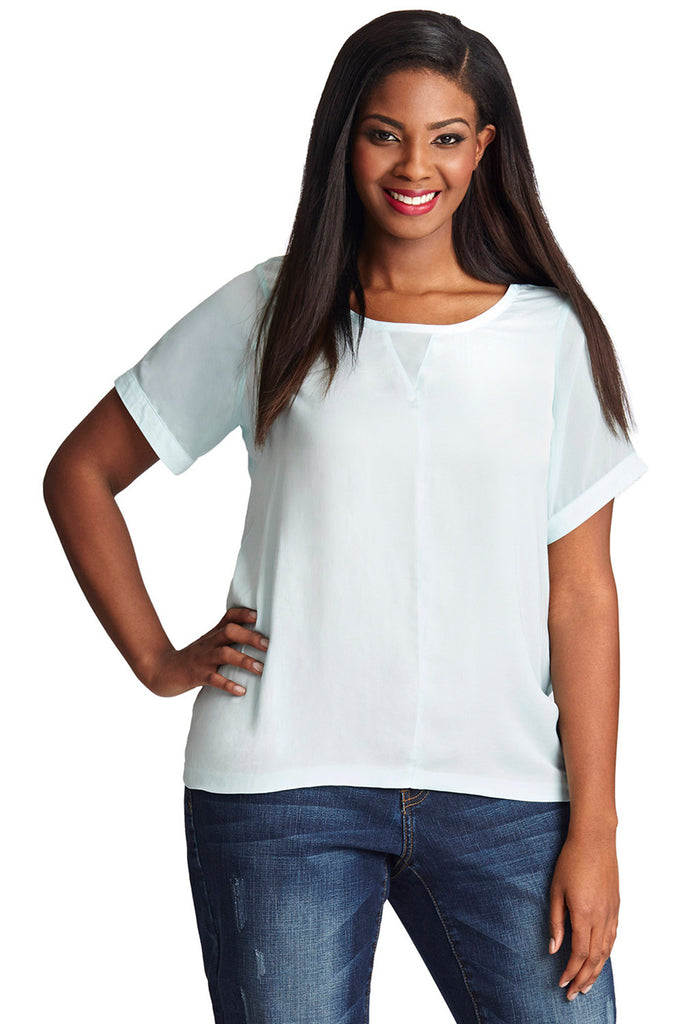 PLUS SIZE LIGHT WEIGHT CREPE BLOUSE
