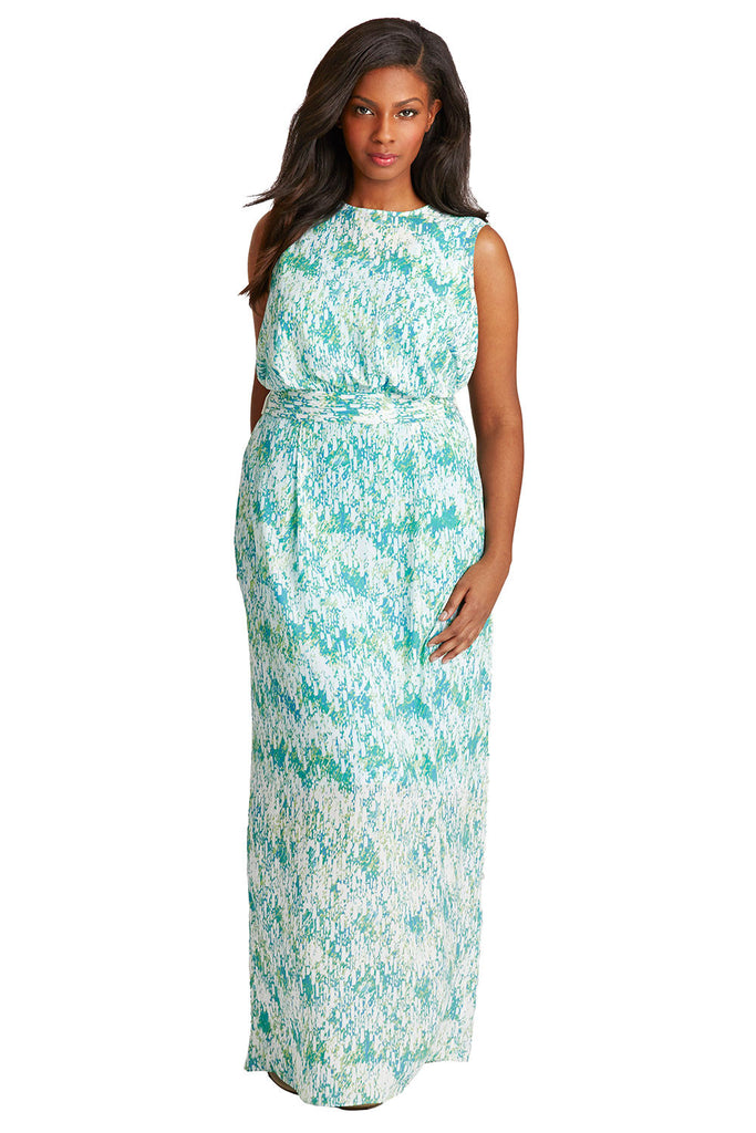 PLUS SIZE MAXI DRESS IN LIME RAINDROP