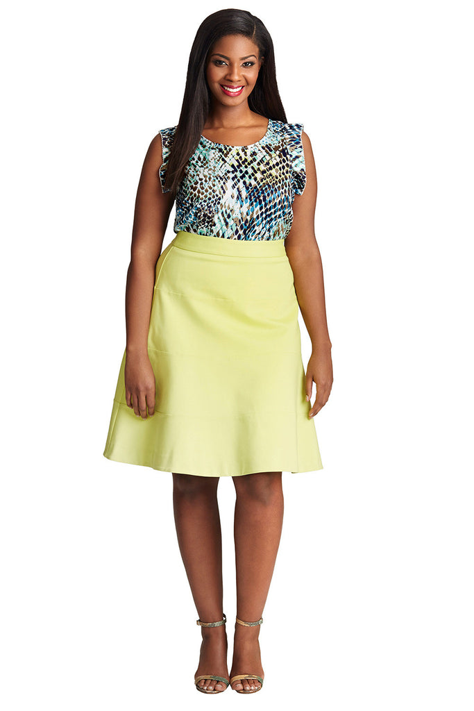 PLUS SIZE FLARED SKIRT IN LIME GREEN