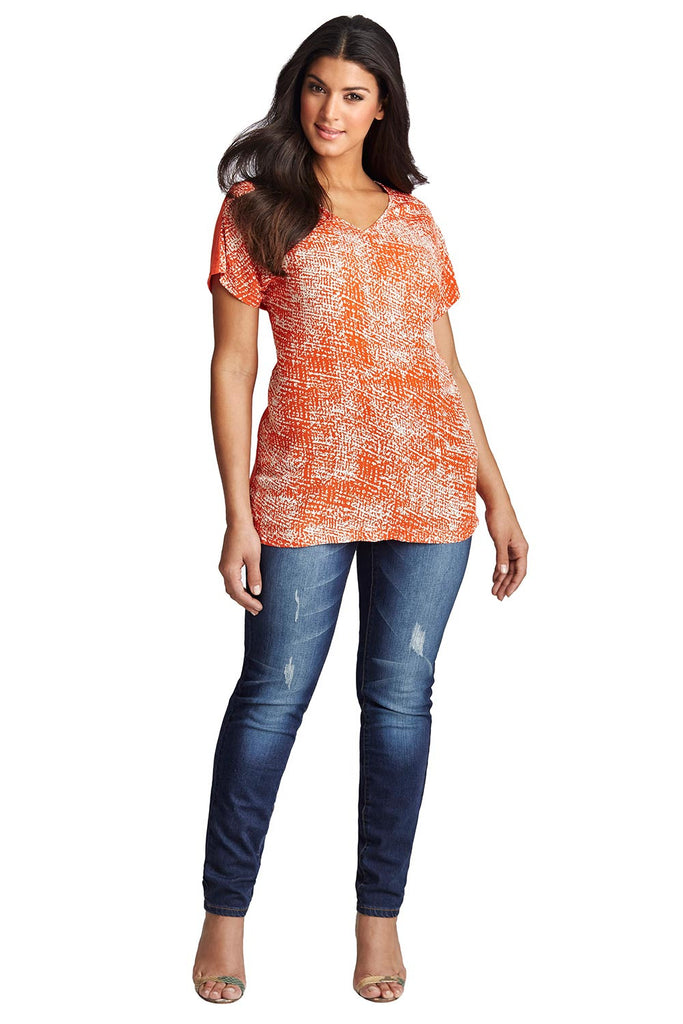 PLUS SIZE DOLMAN TOP IN ORANGE BOUCLE