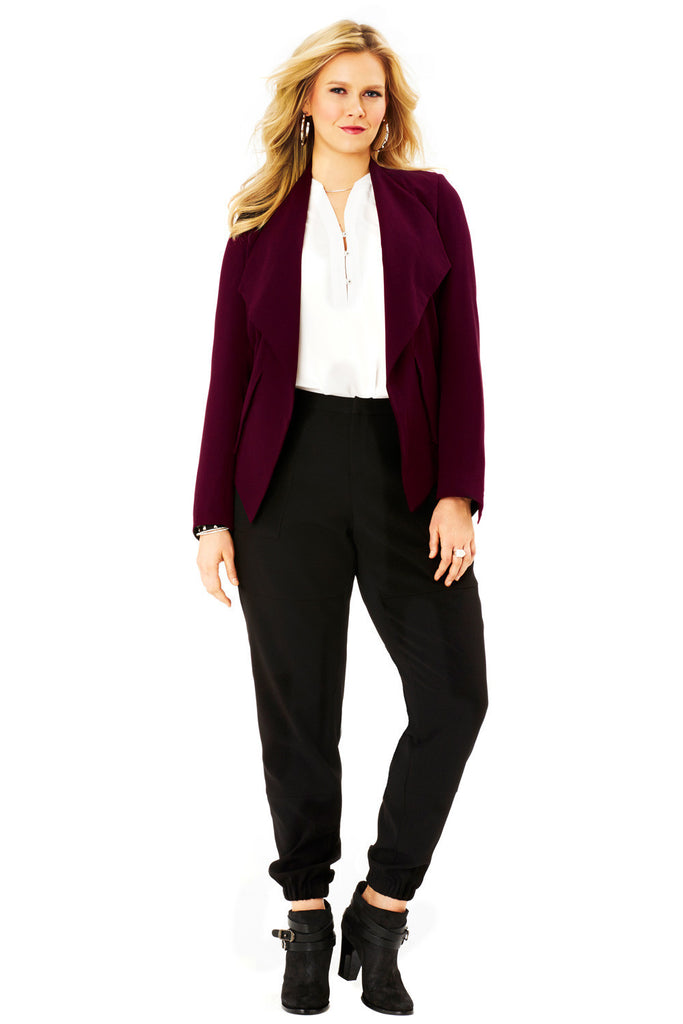 PLUS SIZE OPEN BLAZER IN FUDGE