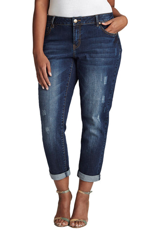 PLUS SIZE MEDIUM BLUE BOYFRIEND JEAN