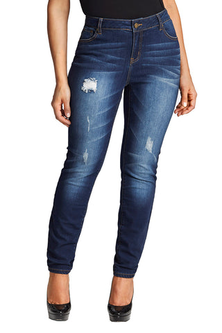 CURVY DISTRESSED JEANS IN MEDIUM WASH