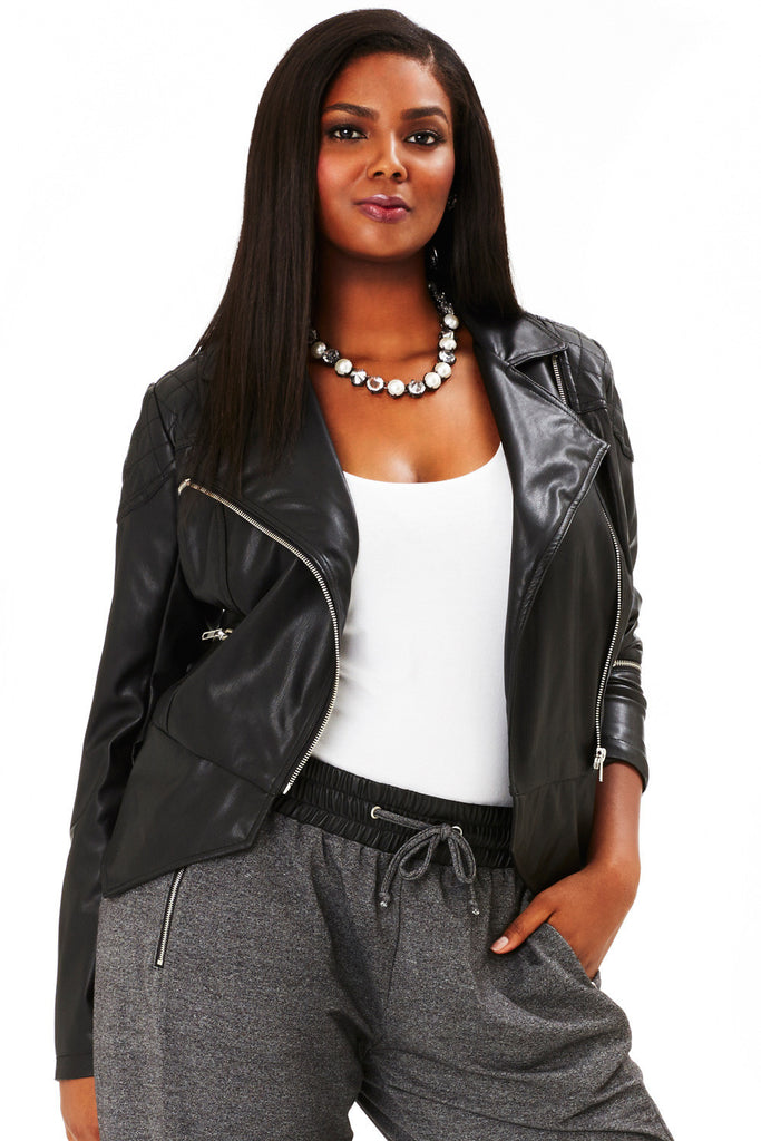 MYNT 1792 Faux Leather Moto with Quilting Detail