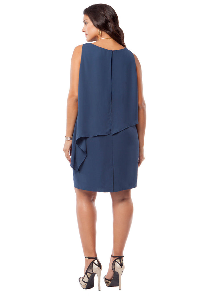 PLUS SIZE ASYMMETRICAL NAVY  DRESS