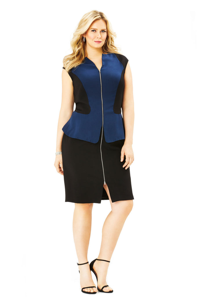 PLUS SIZE PEPLUM DRESS IN BLACK AND NAVY