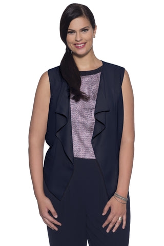 PLUS SIZE CASCADE VEST IN NAVY