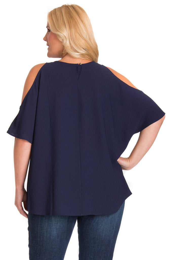 Curvy Cold Shoulder Blouse in Navy